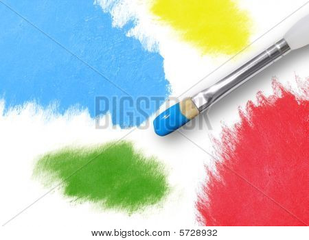 Colorful Rainbow Paint Splatters and Paintbrush