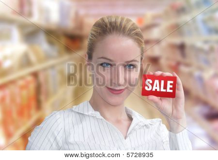 Discount Sale Shopper Woman with Card