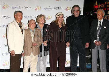 Roger Williams, Mickey and Jan Rooney, Diane Ladd, Jim Ladd and Bob Barker  at thr Hollywood Walk of Fame's 50th Birthday Bash,  Kodak Theater Grand Ballroom, Hollywood, CA. 11-03-10