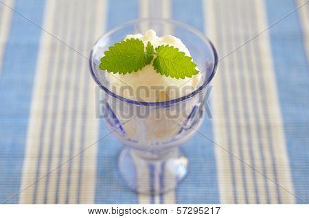 Lemon Ice Cream with Lemon Balm