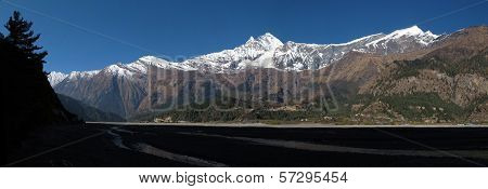 View of Dhaulagiri, Tukuche peak and riverbed of Marsyangdi River