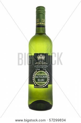 2014: Bottle Of 2012 Sauvignon Blanc On A White Background