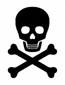 stock photo of skull cross bones  - Skull with crossed bones over white background - JPG