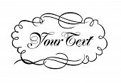 pic of scrollwork  - Black and white ink pen calligraphy style scrollwork ornament features scroll and flourishes - JPG