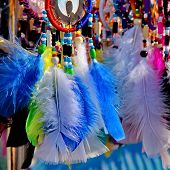 foto of dreamcatcher  - Native American colorful dreamcatchers on artisan market