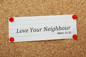foto of quotation mark  - The phrase Love Your Neighbour appears in the Bible book of Mark but also in many other passages of the Bible - JPG