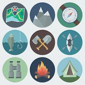 stock photo of ax  - Set of Camping Flat Circle Icons on Light Background - JPG