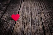 image of february  - Red heart on wooden background - JPG