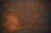 stock photo of dirty  - dirty and old rust diamond metal plate use for grunge grungy textured background and backdrop - JPG
