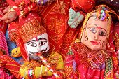 pic of rajasthani  - rajasthani puppet  in couple wearing traditional clothes - JPG