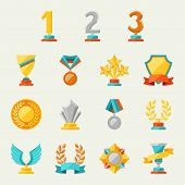stock photo of appreciation  - Trophy and awards icons set - JPG