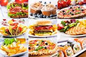 stock photo of nachos  - collage of various a fast food products - JPG