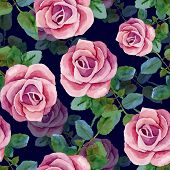 stock photo of blue rose  - Dark blue seamless background with pink roses - JPG