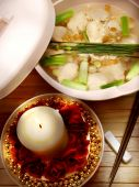 foto of wanton  - Wanton the yummy Chinese food on plastic plate - JPG