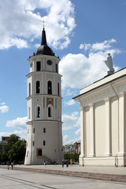 foto of stanislaus church  - St. Stanislaus Cathedral and bell tower in the square of Vilnius ** Note: Slight blurriness, best at smaller sizes - JPG