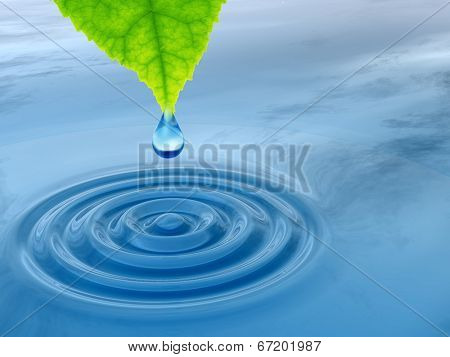 Conceptual water or dew drop falling from a green fresh leaf on a blue clear water making waves