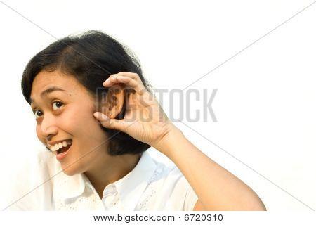 Woman Overhear Conversation