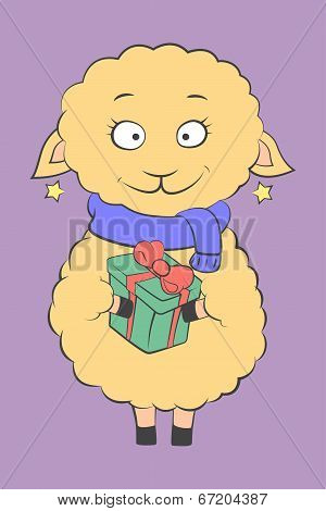 charming lamb with a present