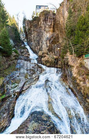 Waterfall In Ski Resort Town Bad Gastein, Austria, Land Salzburg