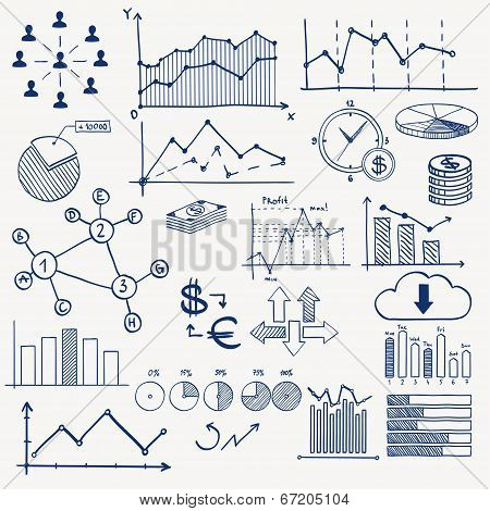 Business finance management infographics doodle hand draw elements. Concept - graph, chart, pie, arr