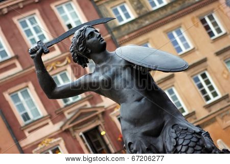 Syrenka statue in centre Old Town Market sqare in Warsaw.
