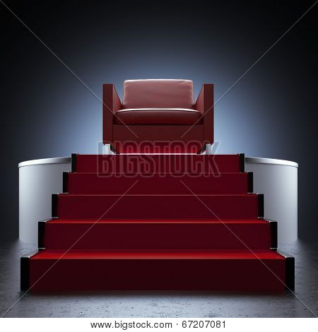 Red Chair And Podium Isolated On Black