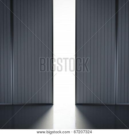 Light In Open Hangar Doors