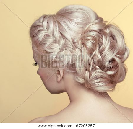 Beauty Wedding Hairstyle. Bride. Blond Girl With Curly Hair Styling
