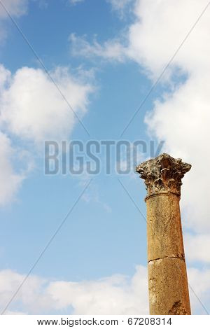 Column of the Roman Temple of Artemis in Jerash, Jordan with copyspace