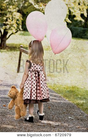 Child With Balloons and Teddy Bear