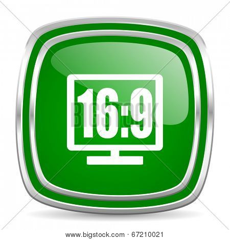 16 9 display glossy computer icon on white background