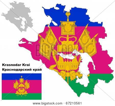 Outline Map Of Krasnodar Krai With Flag