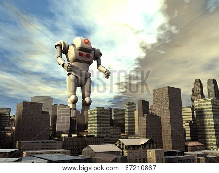 Giant robot on the city