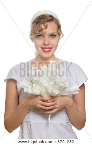 Beautiful Blonde Girl With A Bouquet Of White Paper Roses