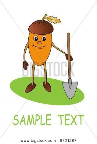 Smiling acorn with shovel