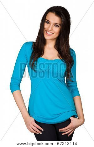 Beautiful woman wearing blue blouse