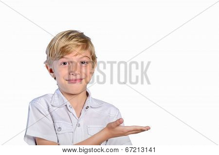 Young Boy Holding Palm