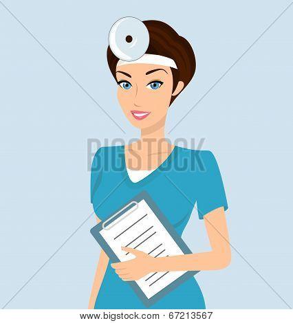 Smiling doctor otolaryngologist