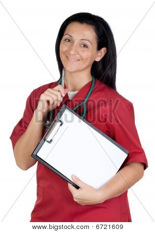 Happy Doctor Woman With Clipboard In Blank Thinking
