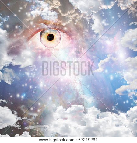 Eye in bright nebulous clouds and stars Elements of this image furnished by NASA