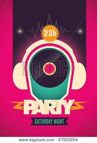 Illustrated party poster. Vector illustration.