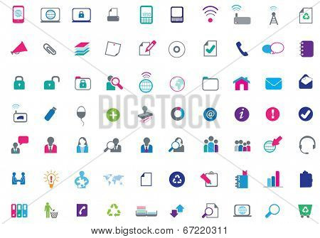 set of flat business icons on white background