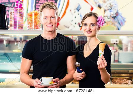 Ice-cream seller and waiter working in cafe selling ice cream wafer and coffee