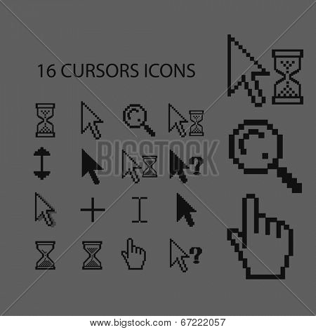 16 cursors, direction, hand, arrow, time, select, edit, waiting, help icons, signs set, vector
