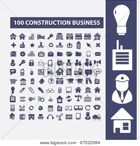100 construction, strategy, business, factory, architecture, development icons, signs set, vector