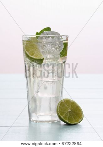Hugo Cocktail With Lime, Mint And Ice
