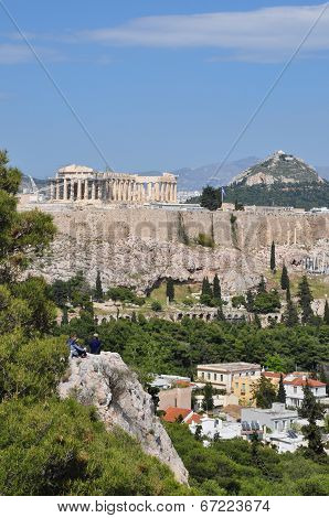 View Of The Acropolis From Philopappos Hill