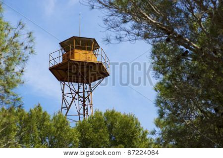 Watch tower view in Huesca province, Aragon, Spain.