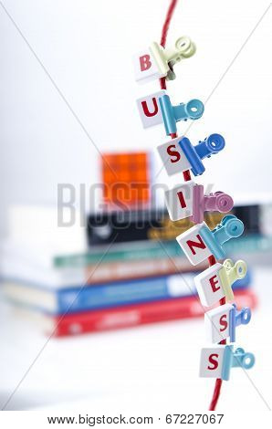 Business Letter Pieces Clipped On a String
