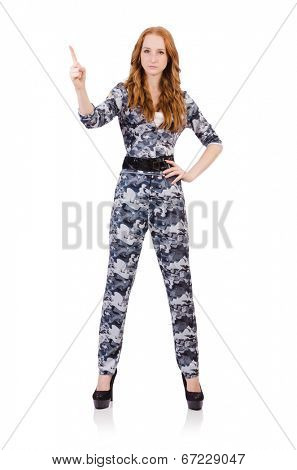 Young woman soldier pressing virtual buttons  isolated on white